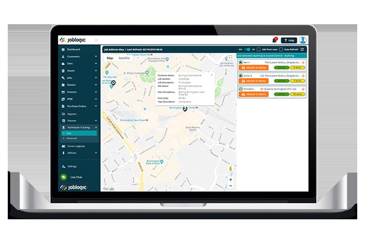 Live GPS Tracking - Joblogic Software