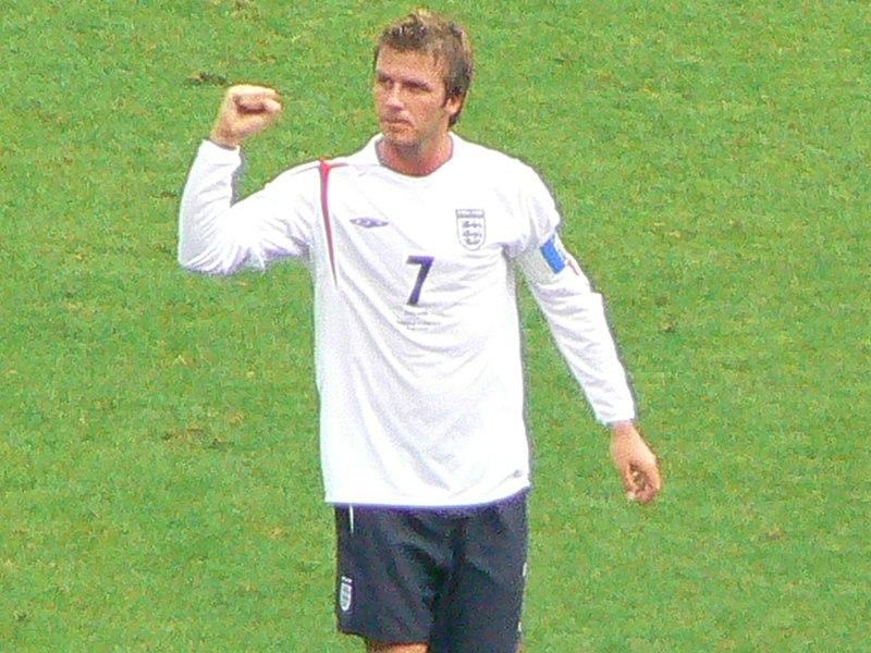 David Beckham playing football in 1990s