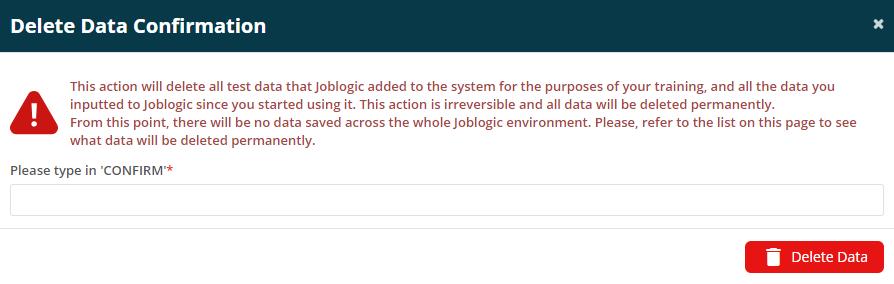 Joblogic Web - 'Delete Data Confirmation' pop-up