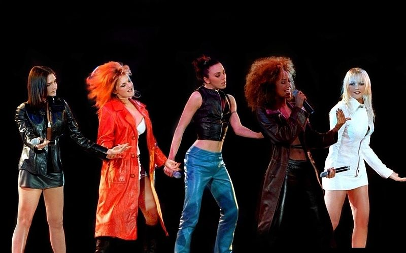 Spice Girls performing concert in 1997