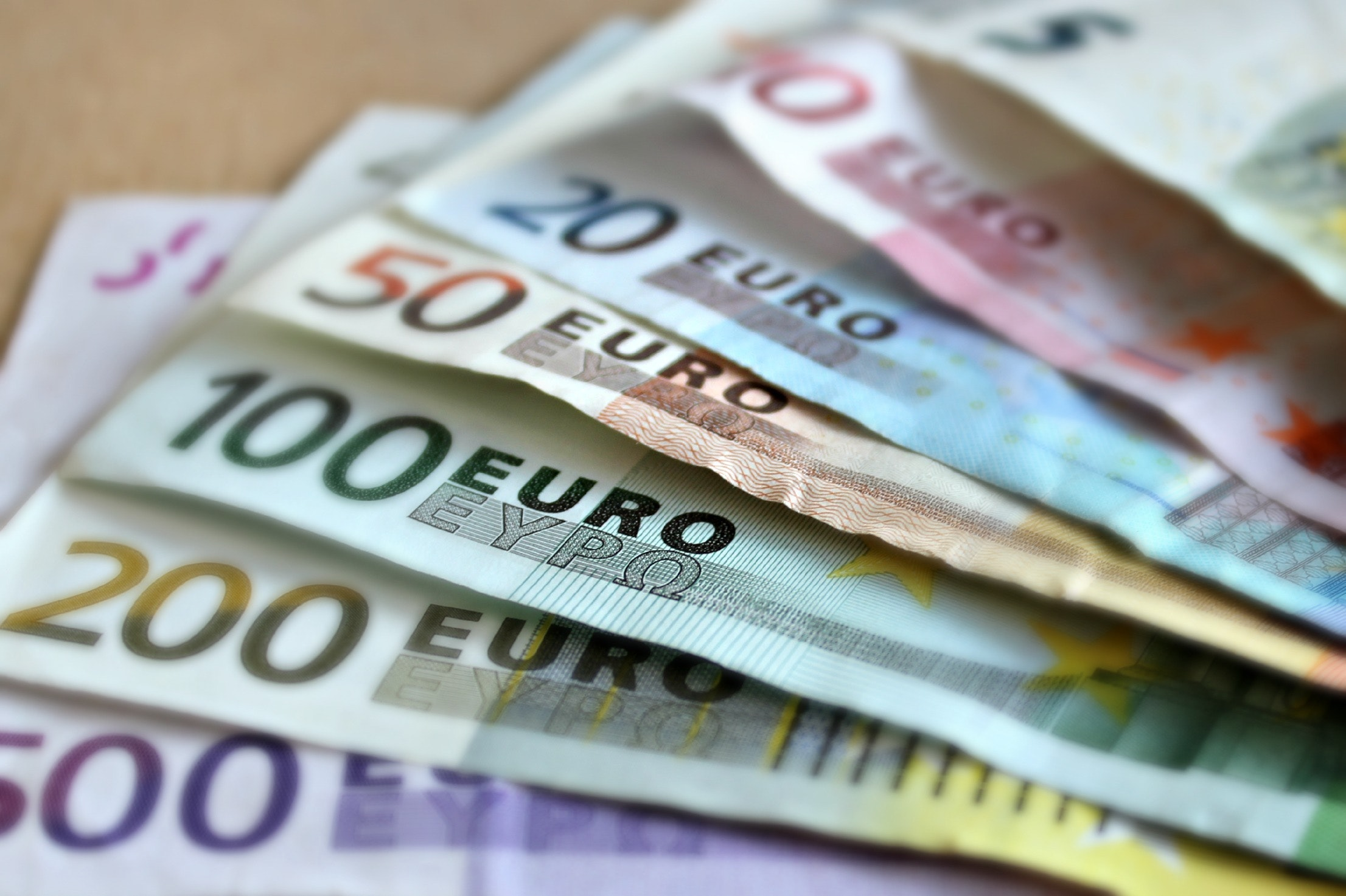 Euro notes lying on a table