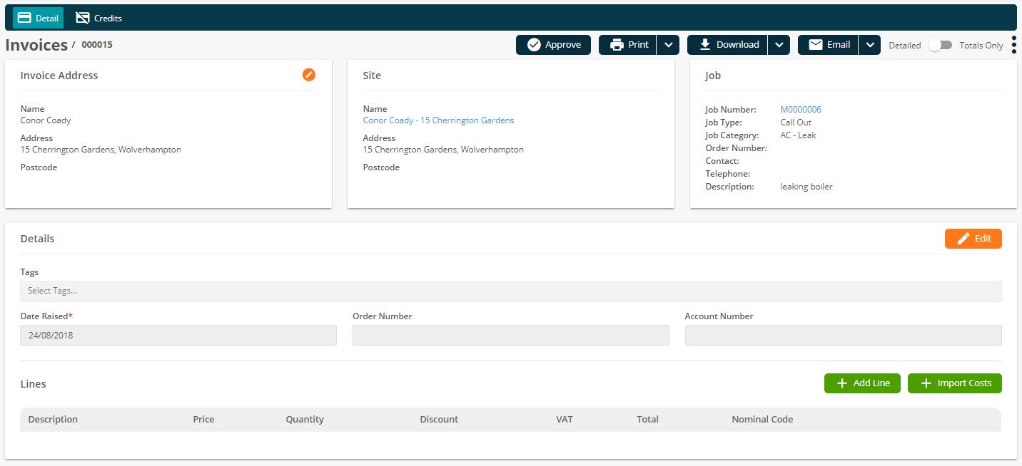 Joblogic Web - 'Invoice Detail' screen