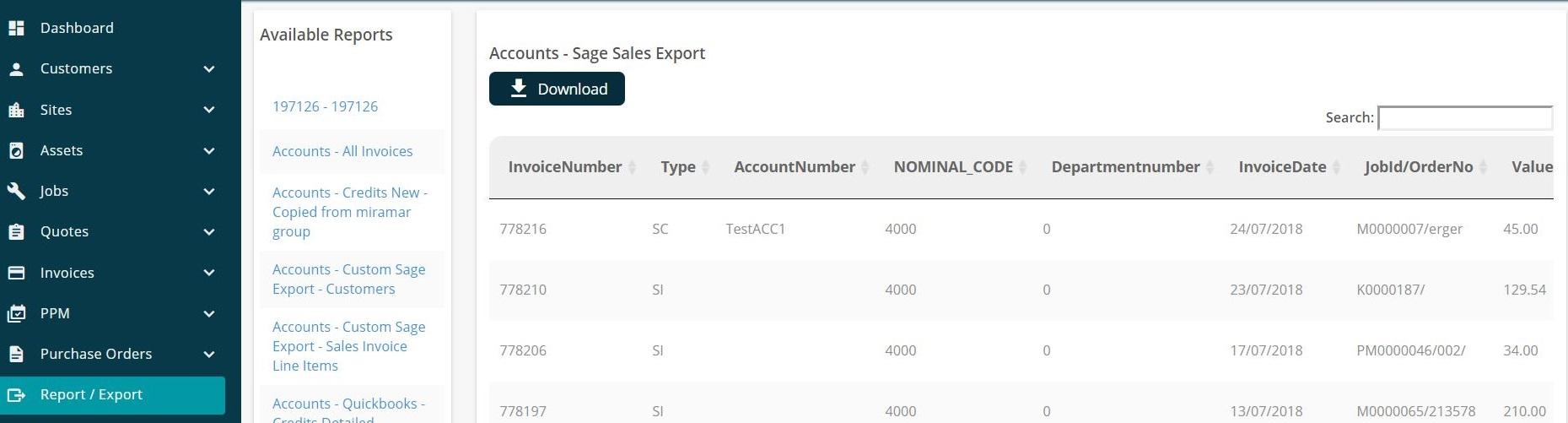 Joblogic Web - 'Report/Export' screen