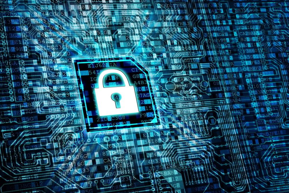 Blue padlock safe security