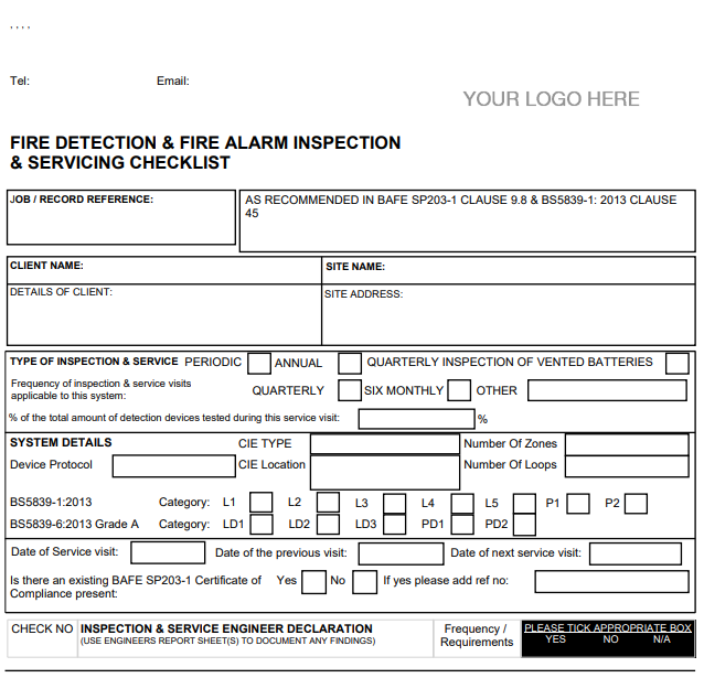 Joblogic Web - Fire Detection and Alarm Systems Inspection and Servicing Checklist