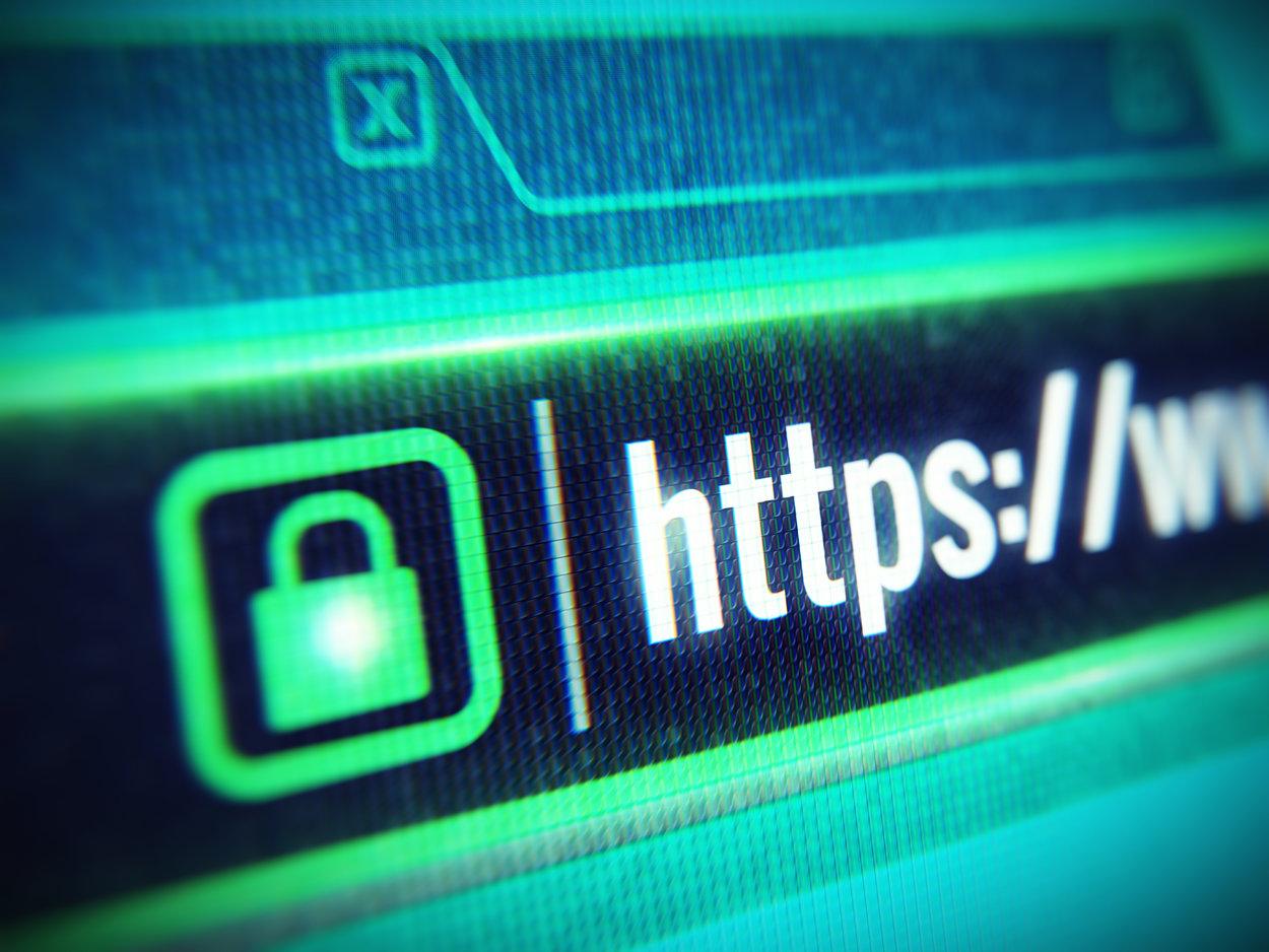 Secure green padlock in URL of website on computer screen