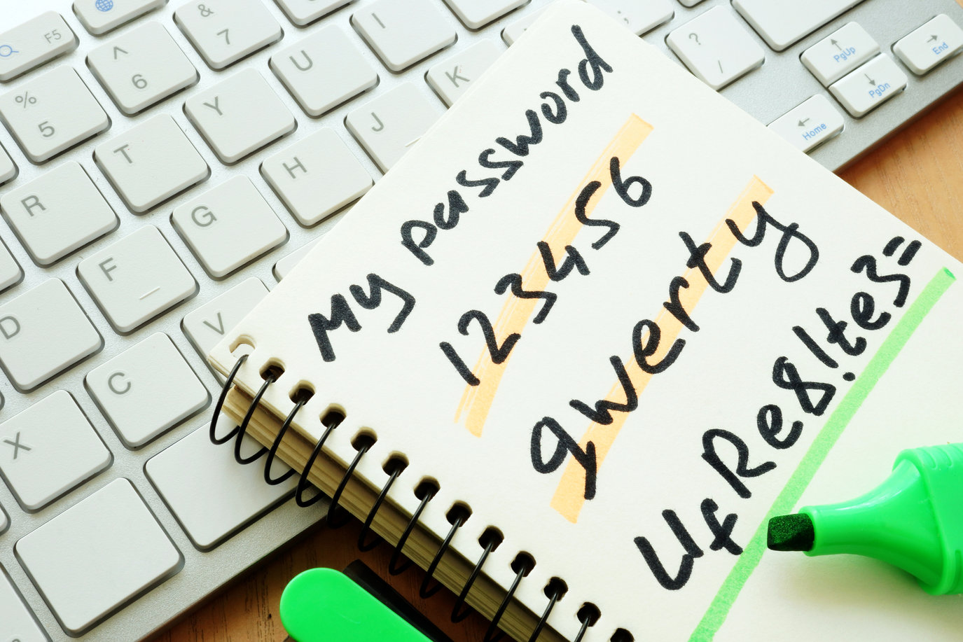 Weak passwords and strong password on notepad