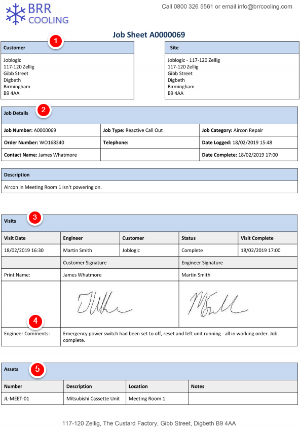 Professional job sheet example template