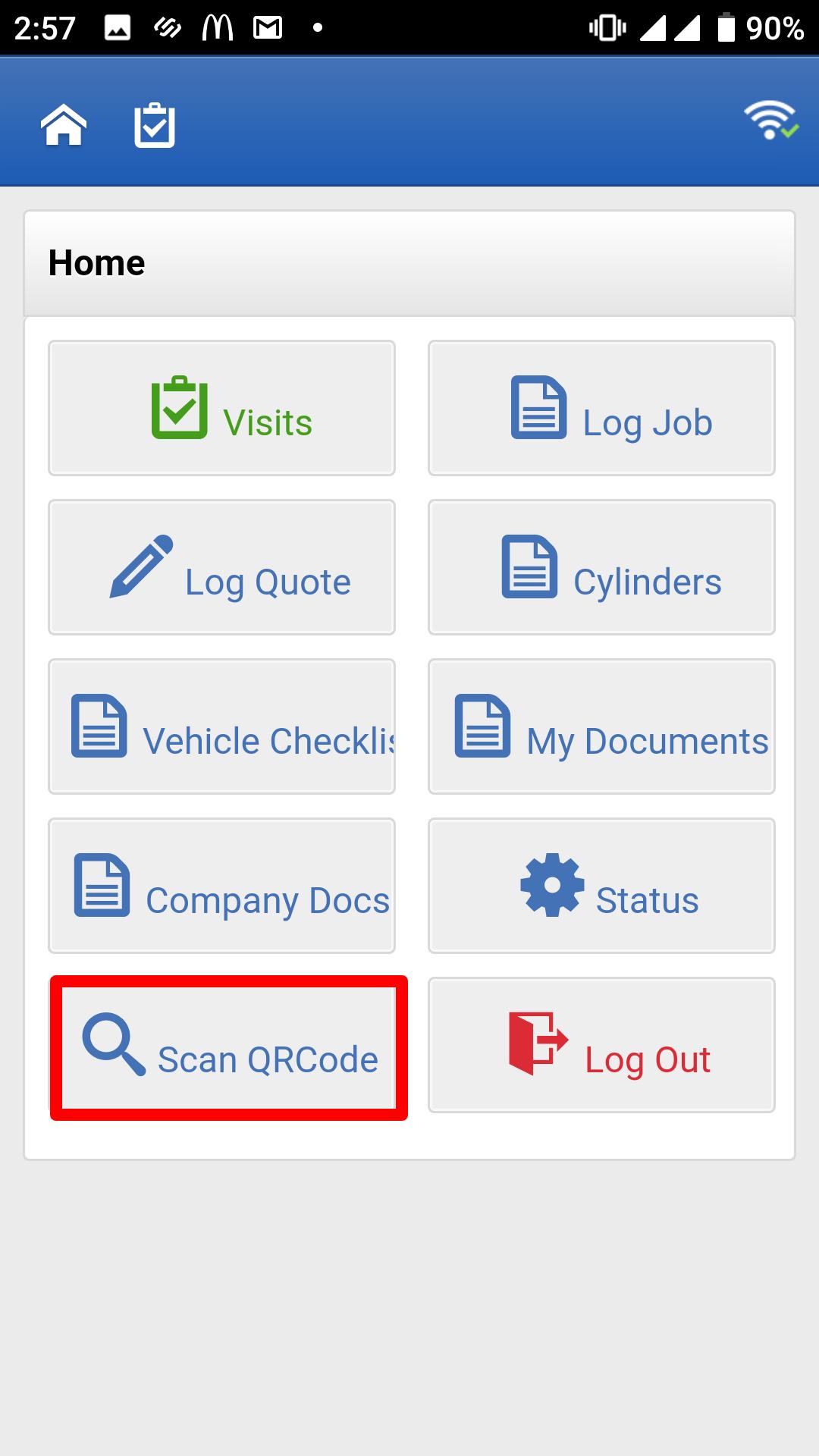 Figure 2: Joblogic Mobile - Home screen