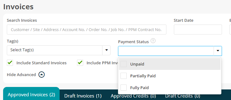 Search Invoices via Payment Status