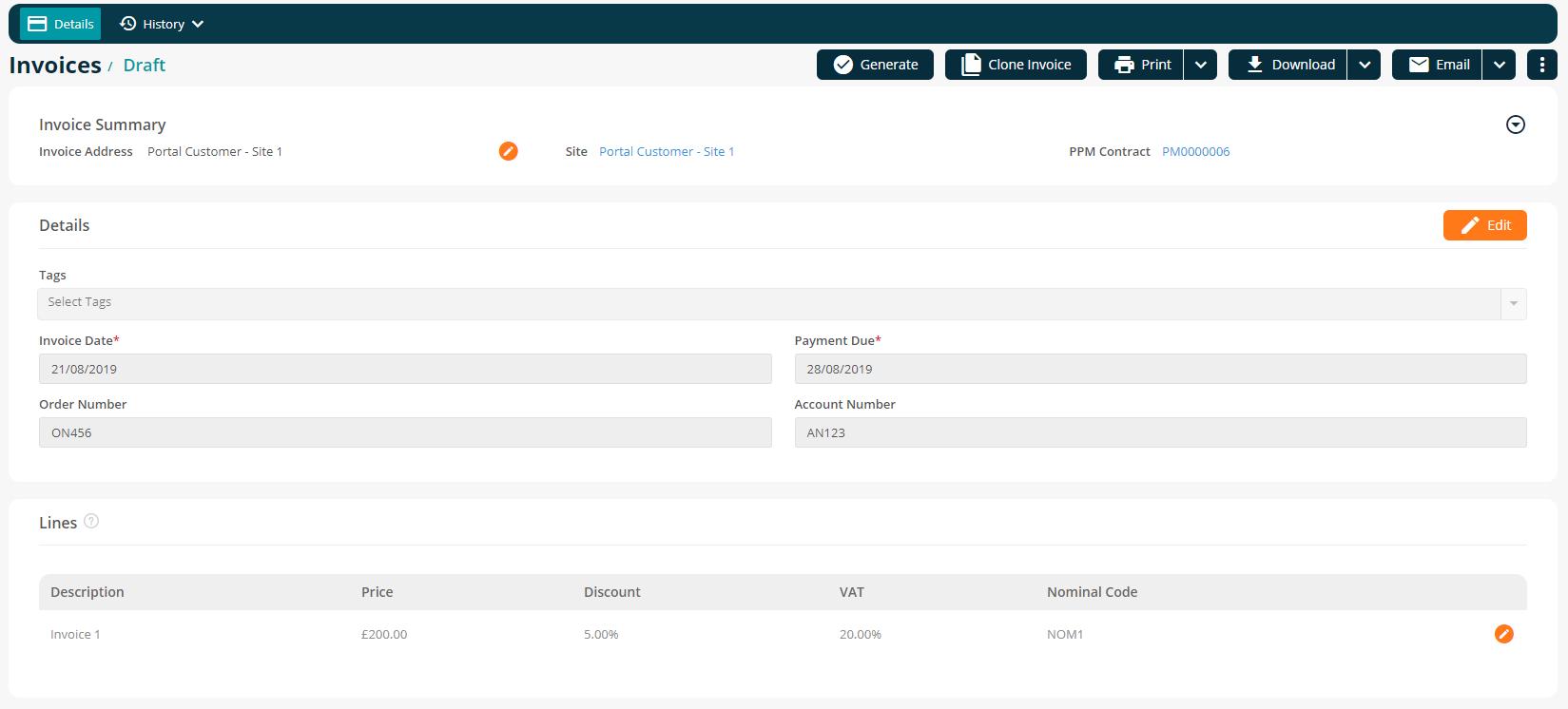 Draft PPM Invoice Detail