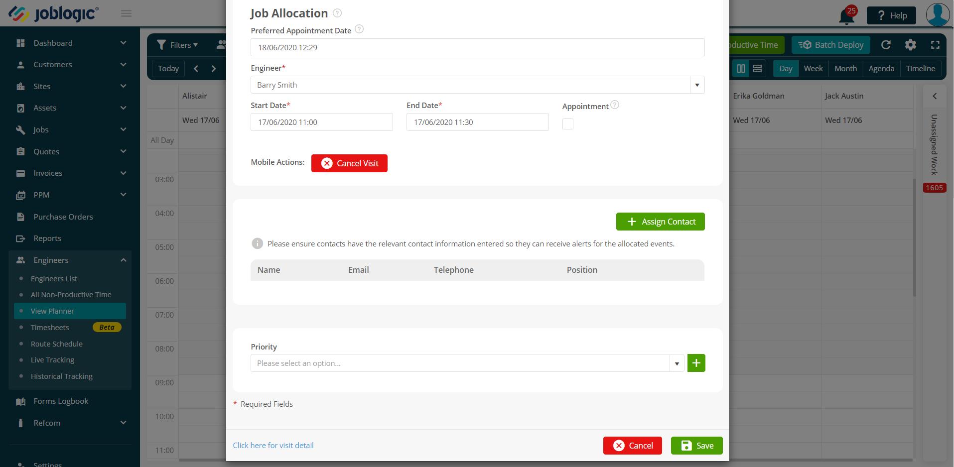 Planner detail job allocation