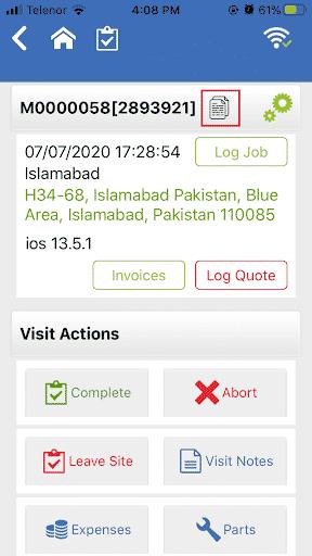 Visit details screen