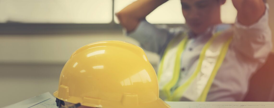 Stressed building worker