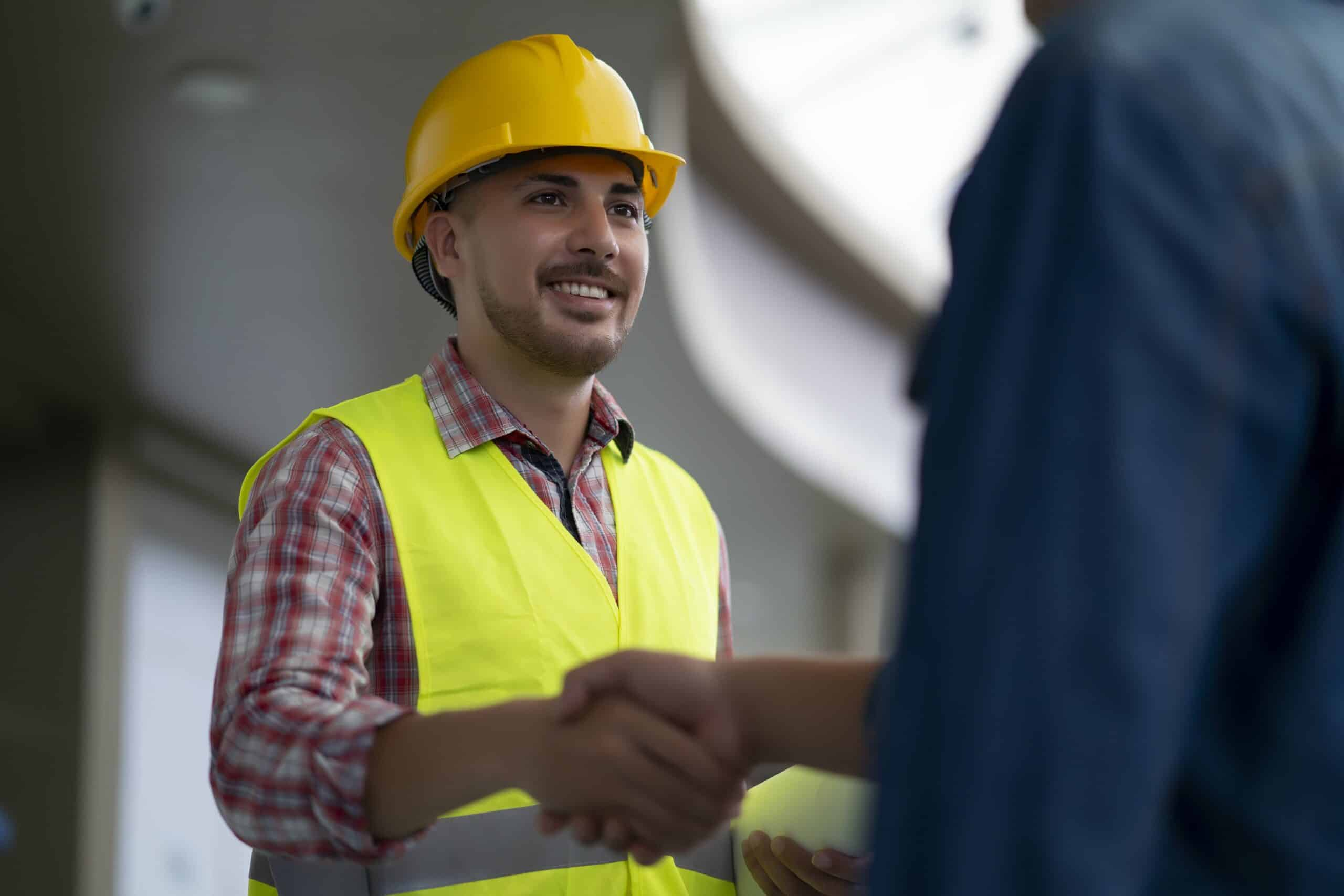Engineer meeting customer